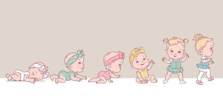 Échelle de croissance du bébé du nouveau-né au tout-petit. Jalons de la première année. Jolie fille de 12 mois. Illustration de couleur vectorielle.