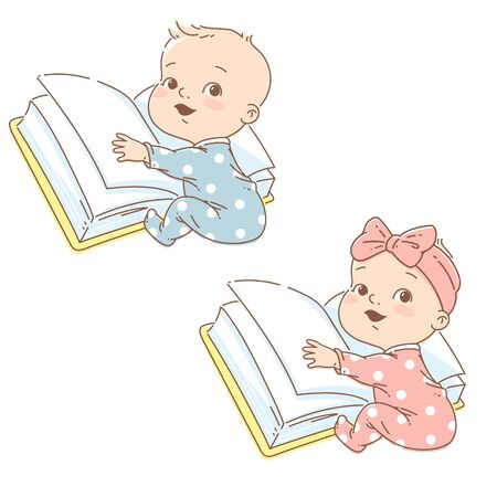 Cute little boy of 6-12 months sit, hold big open book. Genius child learning. Baby early development. Toddler learn to talk, red, Smart kid study. Color vector illustration. Illustration