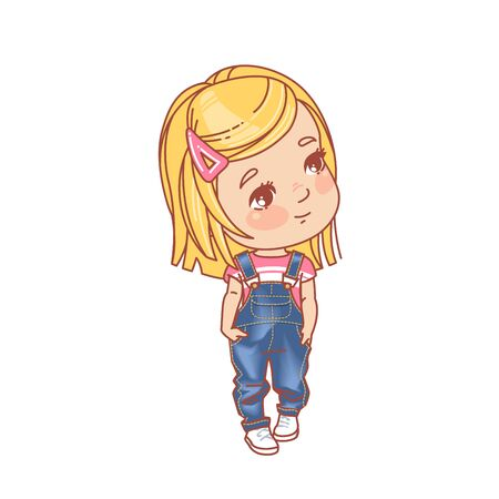 Denim clothes for children. Preschool and school fashion outfit. Cute smiling young girl with blonde hair standing. Color vector illustration.