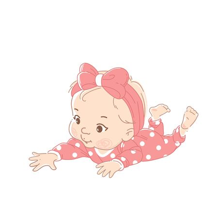 Cute little girl wearing pink polka dot overalls, pajamas reach out for object with hand. Baby of 6-12 months health and development. Kid isolated on white background. Color vector illustration set. 向量圖像