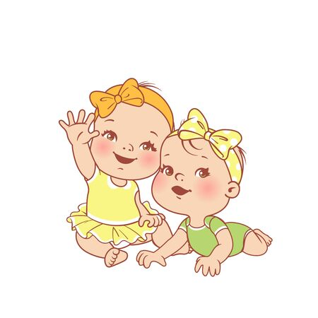 First year. Clothes for children. Baby fashion. Smiling toddler twin girls together. Sisters. Happy baby wave hand. Color vector illustration.