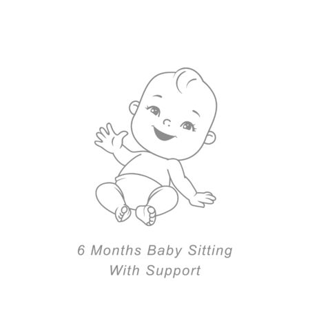Little baby of six month sitting with support. Cute little baby boy or girl in diaper sitting. Sketchy hand drawn style. Background with toys