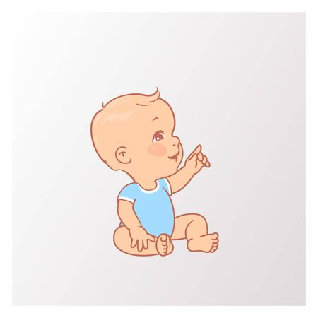 Active curious baby of age from 3 months to year look up. Child wear blue bodysuit. Vector illustration.