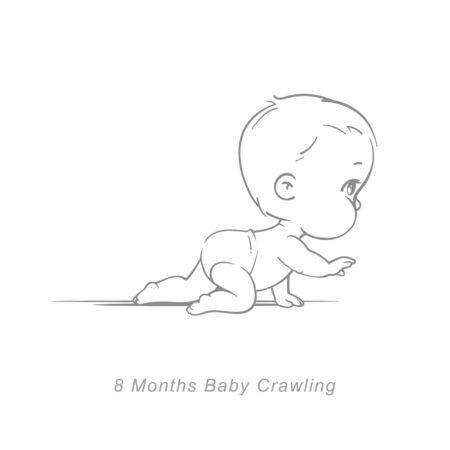 Mignon petit bébé garçon ou fille en couches rampant. Style dessiné à la main fragmentaire. Arrière-plan avec des jouets et des objets. Illustration vectorielle.