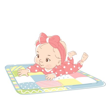 Kid wearing white bodysuit, reach out hand to object . Child early development. Kid in pajamas. Color vector illustration. 向量圖像