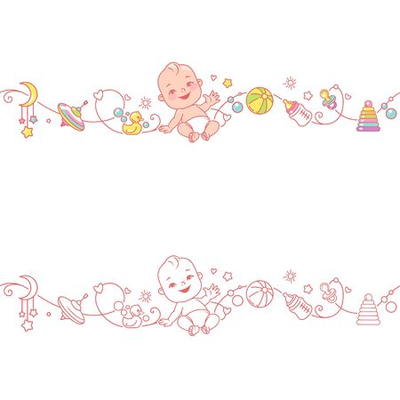 Seamless border with sitting baby and toys. Cute little baby in diaper sitting with baby objects isolated. Endless baby border. Color vector illustration. Line pattern. Design template.
