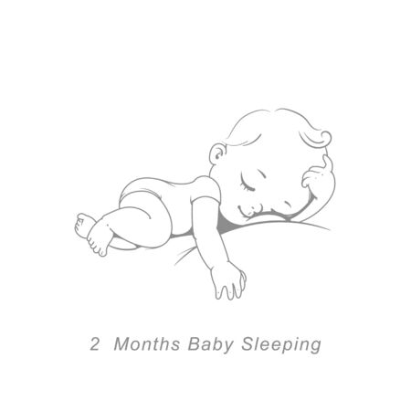 Cute little baby boy or girl in diaper sleeping. Sketchy hand drawn style. Background with toys and objects. Vector illustration.