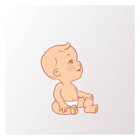 Active curious baby of age from 3 months to year learn to sit, look up. Development milestone. Childhood. First year growth. Vector illustration.