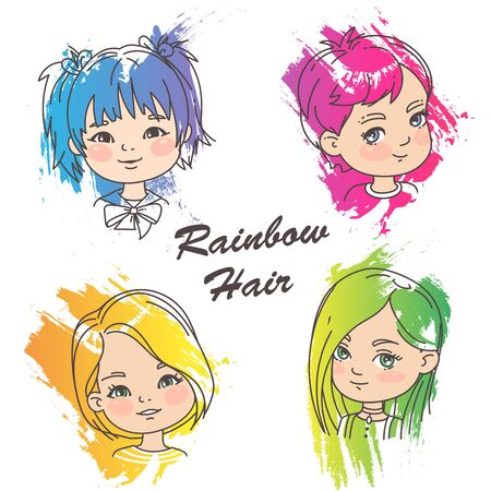 Young girl portraits with bright hair. Watercolor splash paint.