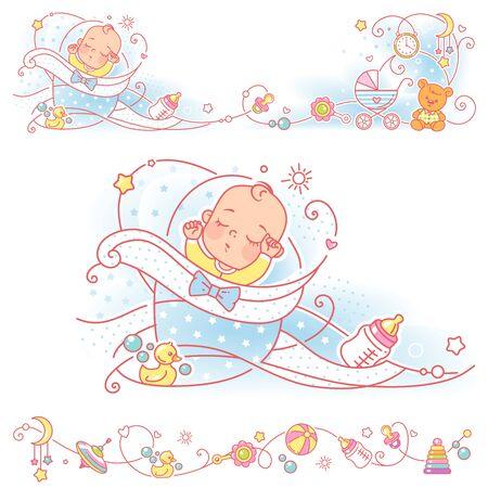 Baby, toys, ornamental border design. Newborn baby sleep in blue swaddle. Vector frames, upper and bottom border. Decorative elements, bottle of milk, pacifier, carriage, bear. Vector illustration.