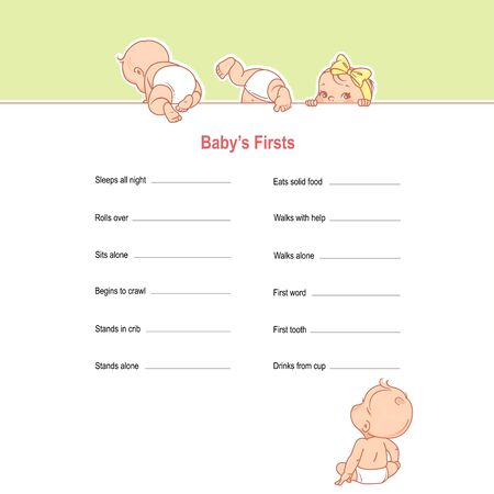Baby first checklist. Baby growth and development table. Milestones of baby first year. Children, boy and girl in diaper with text frame. Child sitting, crawling. Vector infographic illustration.