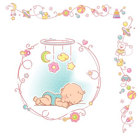 Baby boy with decorative frame and borders.