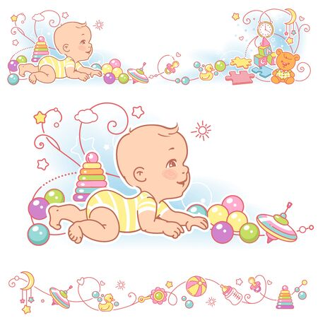 Baby and toys borders. decorative elements frame. Banque d'images