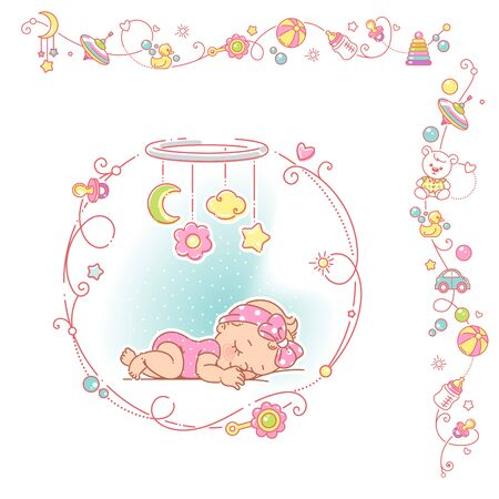 Baby girl with round decorative frame and borders. Banque d'images