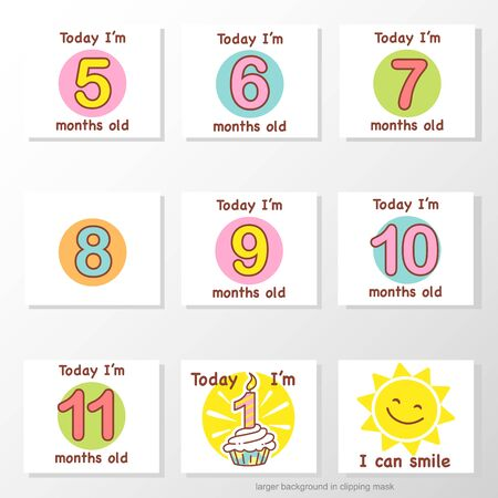 Set of stickers with baby milestones of first year