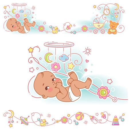 Baby and toys borders. decorative elements frame. Illustration