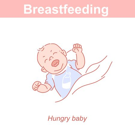 Hungry newborn baby crying. Signs of hunger. Breastfeeding.