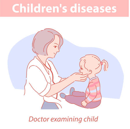 Pediatrician examining baby. Little girl in medical clinic.