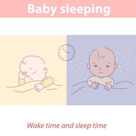 Baby sleeping. Healthy day and night sleeping mode