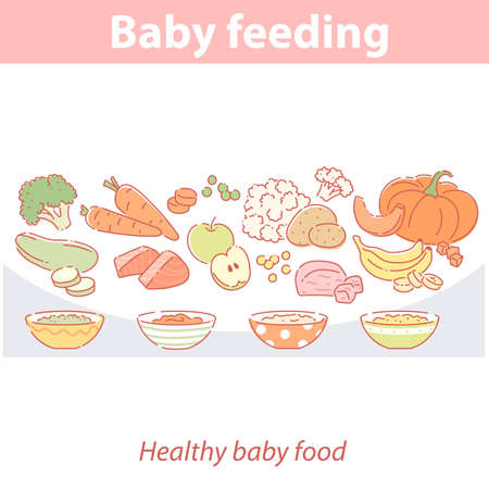 baby feeding. Set of different fresh products. Illustration