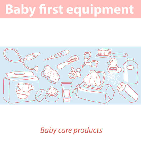 Baby first equipment. Skin and health care products