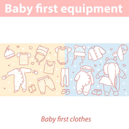 Baby first equipment. Clothes for newborn baby.