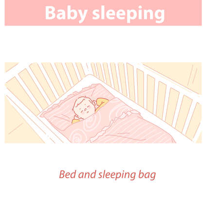 Baby sleeping in bed, in sleeping bag. Healthy sleep mode. Illustration
