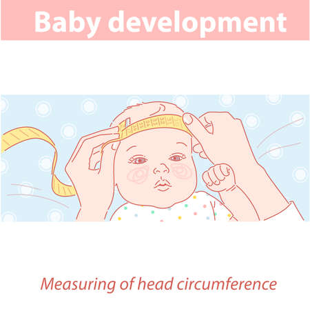 Cute little baby girl with measuring tape on head.