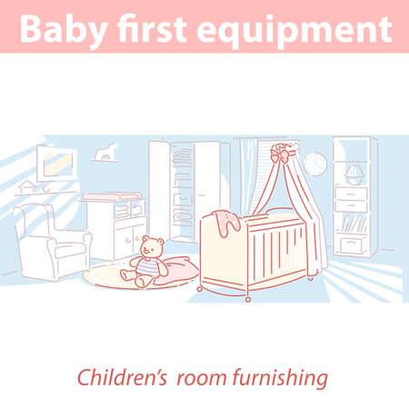 Interior of childrens room. Baby first equipment.