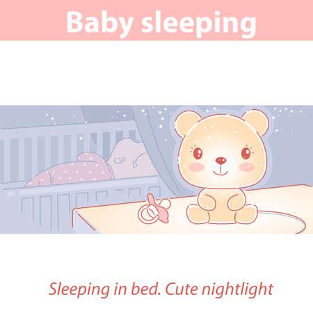 Baby sleeping at night. Cute nightlight near bed.