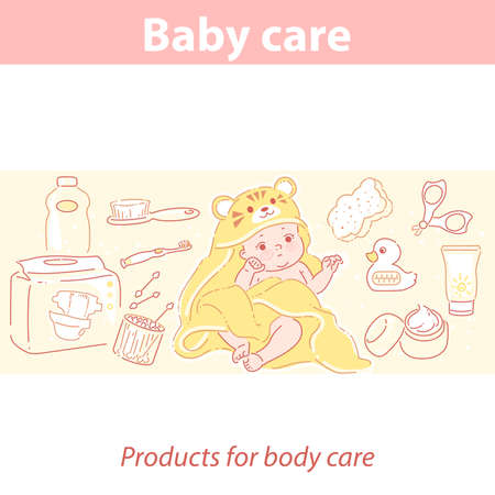 Cute little baby in tiger towel after bath. 向量圖像