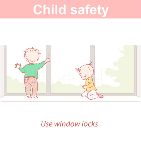 Baby safety. Two children and dangers at home. Illustration