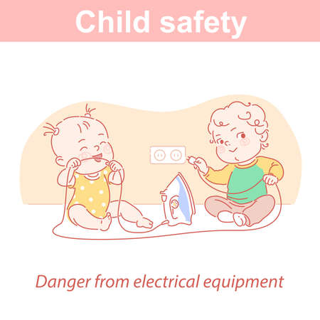 Baby safety. Two children and dangers at home. 向量圖像
