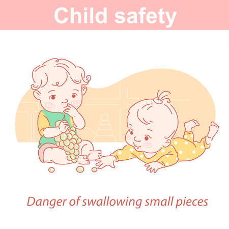 Baby safety. Two children and dangers at home. Illusztráció