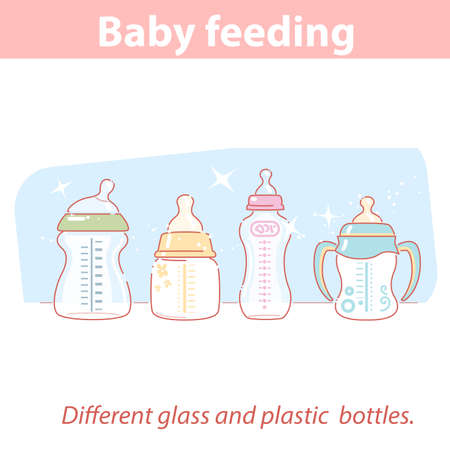 baby feeding. Set of different bottles for baby feeding in row.