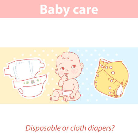 Cute baby looking up, choosing disposable or reusable cloth diaper.