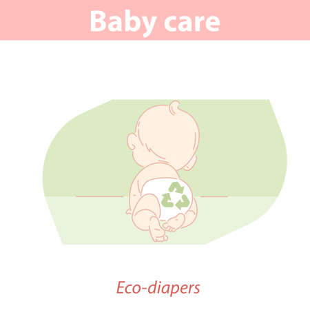 Little baby crawling wearing eco friendly reusable diaper.