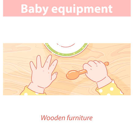 Baby hands on wood table. Baby equipment 向量圖像