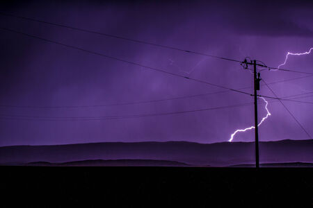 Lightning behind powerlines