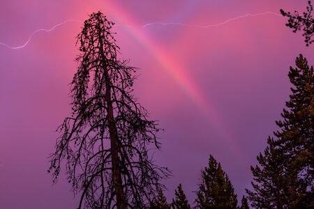 A rare combination of lightning being captured alongside a rainbow framed by the twilight glow of sunset