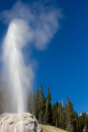 Geyser in mountains erupting Stok Fotoğraf