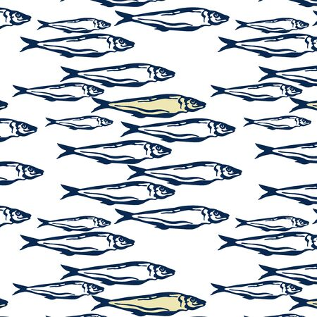 Hand drawn marine seamless pattern  blue  and yellow color a group of Pattern seamless Atlantic mackerel fish on white background. Stock Photo