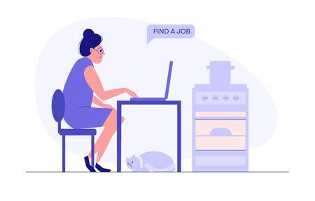 Woman find a job with laptop, cat, oven at home. Flat vector illustration, design job loss concept. Template for website landing page Stock Illustratie