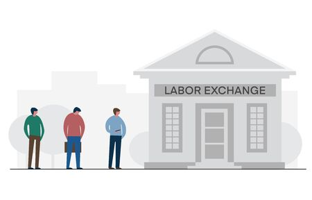 Financial crisis and unemployment, workers standing in line to labor exchange building. Vector flat illustration, design job loss and work searches concept. Template for website landing page