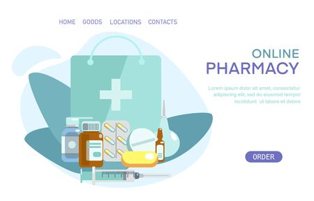Medical supplies, bottles liquids, bag, syringe, enema, pills vector flat illustration. Pharmacy purchases. Drugstore Concept. Delivery online pharmacy. Template landing page, banner, card