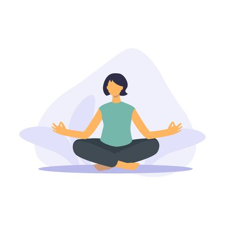 Pose yoga, doing yoga at home. Meditation and sports during quarantine. Stay at home take care of yourself. Girl sitting in lotus position. Vector flat illustration 写真素材 - 148699567