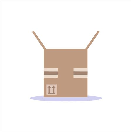 Carton delivery packaging, closed box vector flat illustration isolated on white background.Design for web, icon, info graphic  イラスト・ベクター素材
