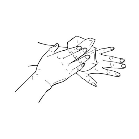 Hand drawn doodle vector illustration preventions infographic wiping hands with a paper towel or napkin isolated on white background. Disinfection, hygiene, medical precaution concept