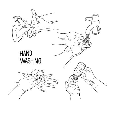 Hand drawn doodle vector illustration preventions infographic with hands washing, soap, hand sanitizer, paper, lettering hand washing. Disinfection, hygiene, medical precaution concept
