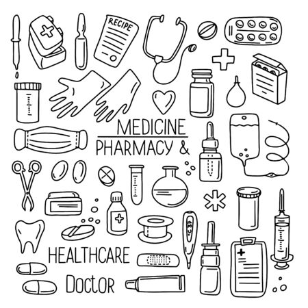 Hand drawn doodle set vector illustration pharmacology, medicine, chemistry lab isolated on white background. Best for wallpaper, wrapping, textile, packaging, medical design, banner Illusztráció